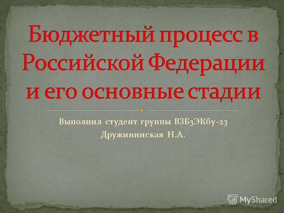 Выполнил студент группы ВЗБ3ЭКбу-23 Дружининская Н.А.