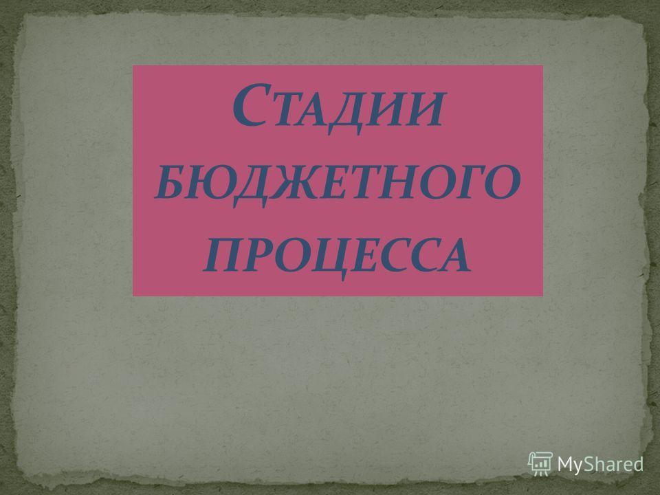 С ТАДИИ БЮДЖЕТНОГО ПРОЦЕССА