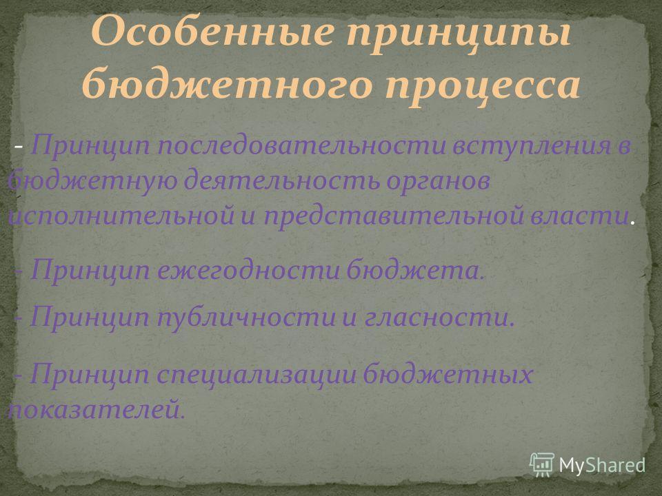 Особенные принципы бюджетного процесса - Принцип последовательности вступления в бюджетную деятельность органов исполнительной и представительной власти. - Принцип ежегодности бюджета. - Принцип публичности и гласности. - Принцип специализации бюджет