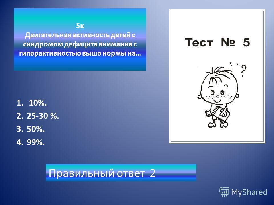 5к Двигательная активность детей с синдромом дефицита внимания с гиперактивностью выше нормы на… 1. 10%. 2.25-30 %. 3.50%. 4.99%. Правильный ответ 2