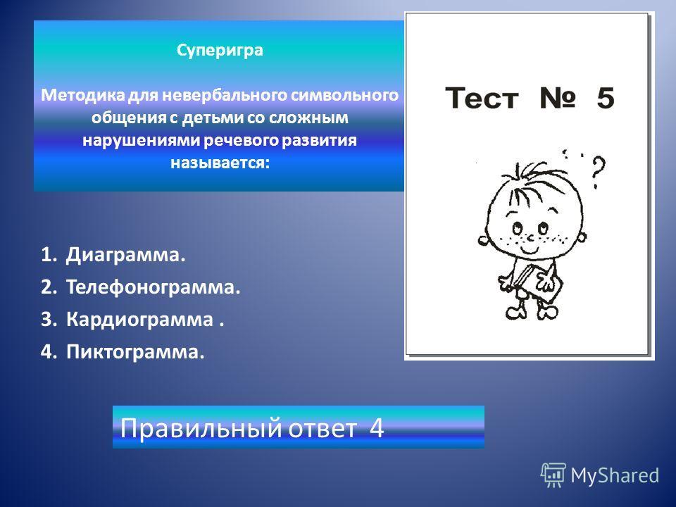 Суперигра Методика для невербального символьного общения с детьми со сложным нарушениями речевого развития называется: 1.Диаграмма. 2.Телефонограмма. 3.Кардиограмма. 4.Пиктограмма. Правильный ответ 4