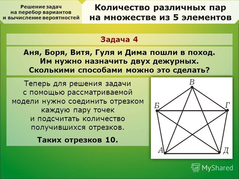 Решение задач на перебор вариантов и вычисление вероятностей Количество различных пар на множестве из 5 элементов Задача 4 Аня, Боря, Витя, Гуля и Дима пошли в поход. Им нужно назначить двух дежурных. Сколькими способами можно это сделать? Теперь для