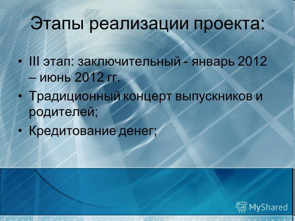 Этапы реализации проекта: III этап: заключительный - январь 2012 – июнь 2012 гг. Традиционный концерт выпускников и родителей; Кредитование денег;