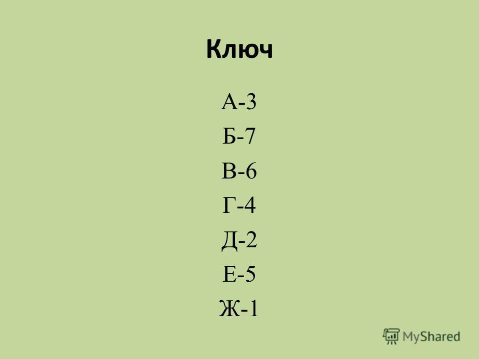 Ключ А-3 Б-7 В-6 Г-4 Д-2 Е-5 Ж-1