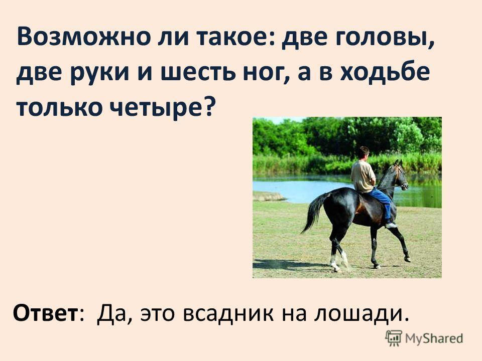Возможно ли такое: две головы, две руки и шесть ног, а в ходьбе только четыре? Ответ: Да, это всадник на лошади.