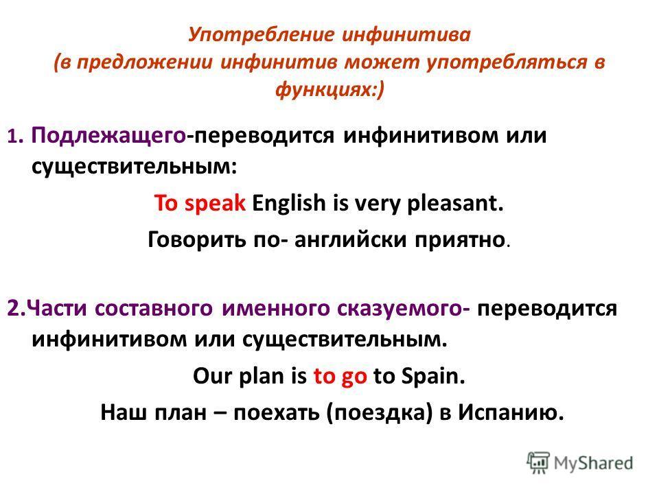 Употребление инфинитива (в предложении инфинитив может употребляться в функциях:) 1. Подлежащего-переводится инфинитивом или существительным: To speak English is very pleasant. Говорить по- английски приятно. 2.Части составного именного сказуемого- п