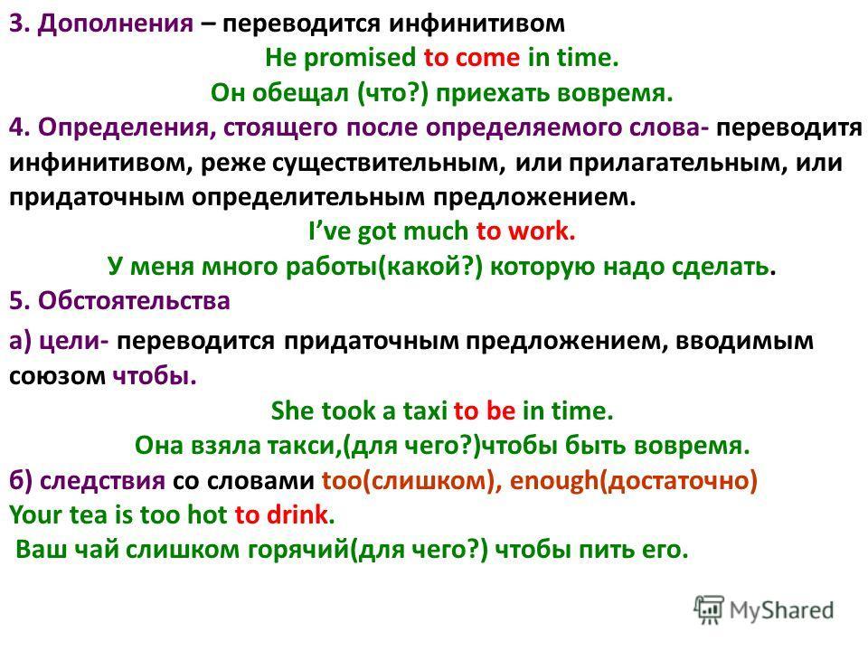 3. Дополнения – переводится инфинитивом He promised to come in time. Он обещал (что?) приехать вовремя. 4. Определения, стоящего после определяемого слова- переводитя инфинитивом, реже существительным, или прилагательным, или придаточным определитель