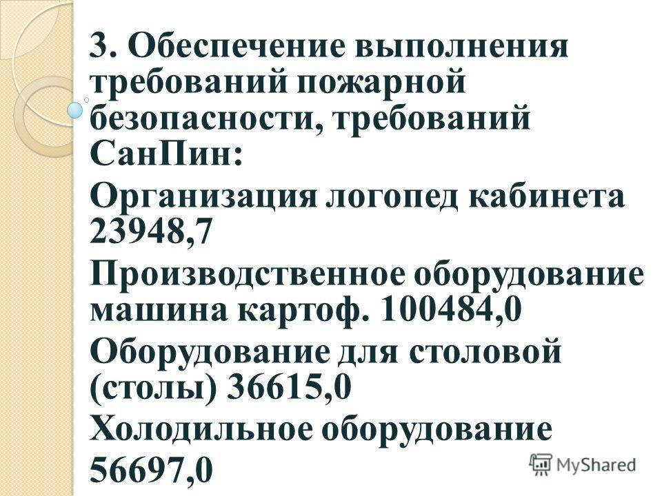 3. Обеспечение выполнения требований пожарной безопасности, требований СанПин: Организация логопед кабинета 23948,7 Производственное оборудование машина картоф. 100484,0 Оборудование для столовой (столы) 36615,0 Холодильное оборудование 56697,0