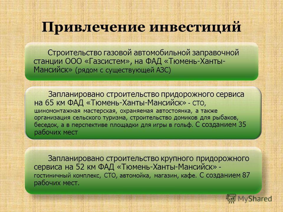 Привлечение инвестиций Строительство газовой автомобильной заправочной станции ООО «Газсистем», на ФАД «Тюмень-Ханты- Мансийск» (рядом с существующей АЗС) Запланировано строительство придорожного сервиса на 65 км ФАД «Тюмень-Ханты-Мансийск» - СТО, ши