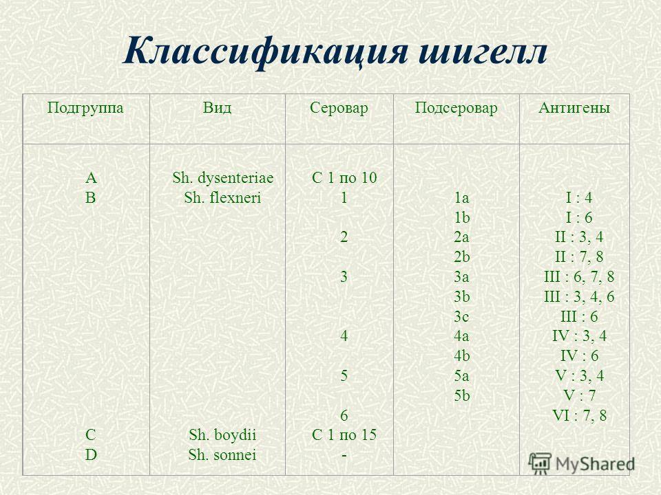 Классификация шигелл ПодгруппаВидСероварПодсероварАнтигены АB CD АB CD Sh. dysenteriae Sh. flexneri Sh. boydii Sh. sonnei С 1 по 10 1 2 3 4 5 6 С 1 по 15 - 1a 1b 2a 2b 3a 3b 3c 4a 4b 5a 5b I : 4 I : 6 II : 3, 4 II : 7, 8 III : 6, 7, 8 III : 3, 4, 6 I