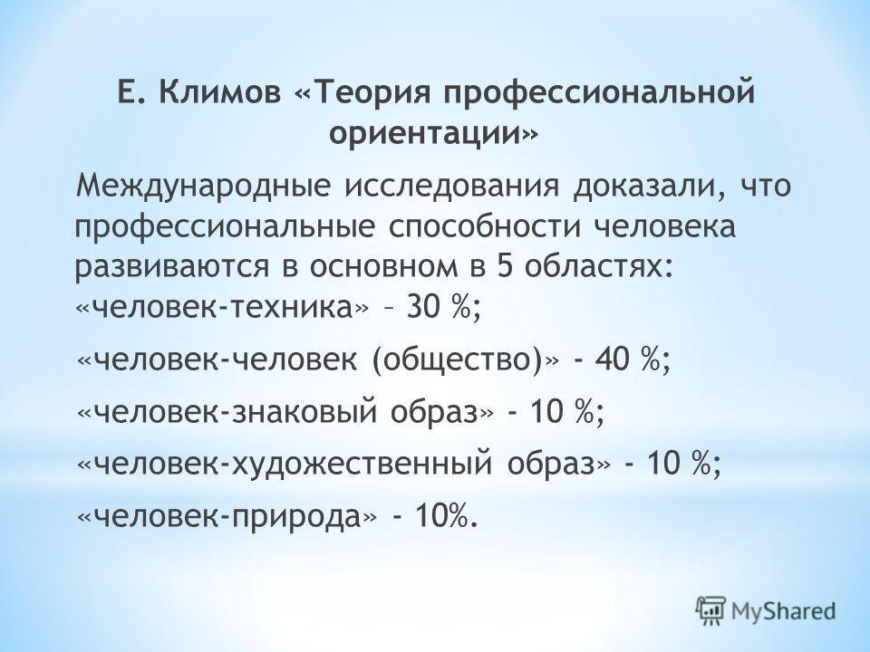 Е. Климов «Теория профессиональной ориентации» Международные исследования доказали, что профессиональные способности человека развиваются в основном в 5 областях: «человек-техника» – 30 %; «человек-человек (общество)» - 40 %; «человек-знаковый образ»