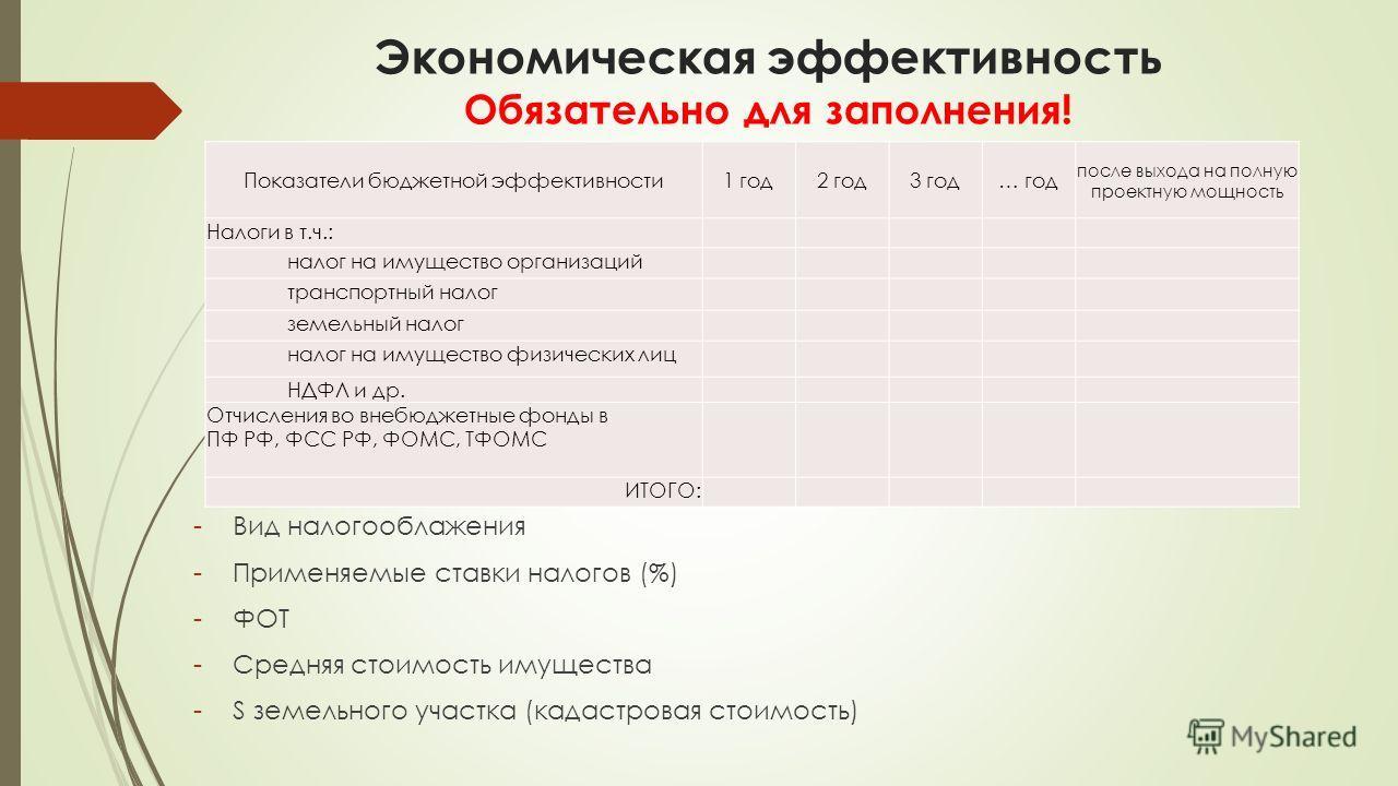 Экономическая эффективность Обязательно для заполнения! -Вид налогооблажения -Применяемые ставки налогов (%) -ФОТ -Средняя стоимость имущества -S земельного участка (кадастровая стоимость) Показатели бюджетной эффективности1 год2 год3 год… год после