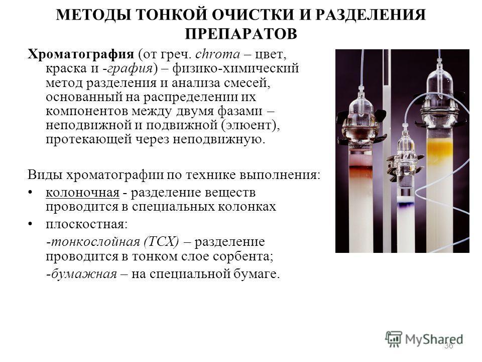 МЕТОДЫ ТОНКОЙ ОЧИСТКИ И РАЗДЕЛЕНИЯ ПРЕПАРАТОВ Хроматография (от греч. chroma – цвет, краска и -графия) – физико-химический метод разделения и анализа смесей, основанный на распределении их компонентов между двумя фазами – неподвижной и подвижной (элю