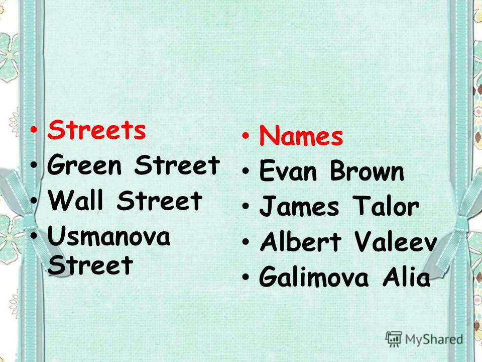 Streets Green Street Wall Street Usmanova Street Names Evan Brown James Talor Albert Valeev Galimova Alia