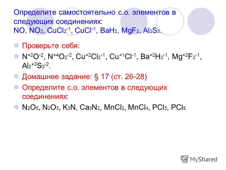 Определите самостоятельно с.о. элементов в следующих соединениях: NO, NO 2, CuCl 2 -1, CuCl -1, BaH 2, MgF 2, Al 2 S 3. Проверьте себя: N +2 O -2, N +4 O 2 -2, Cu +2 Cl 2 -1, Cu +1 Cl -1, Ba +2 H 2 -1, Mg +2 F 2 -1, Al 2 +3 S 3 -2. Домашнее задание: