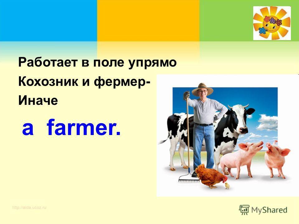 Работает в поле упрямо Кохозник и фермер- Иначе a farmer.