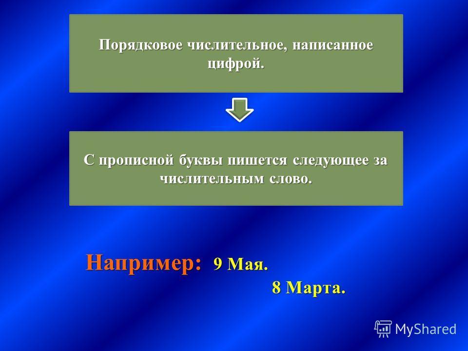 Порядковое числительное, написанное цифрой. С прописной буквы пишется следующее за числительным слово. Например : 9 Мая. 8 Марта. 8 Марта.