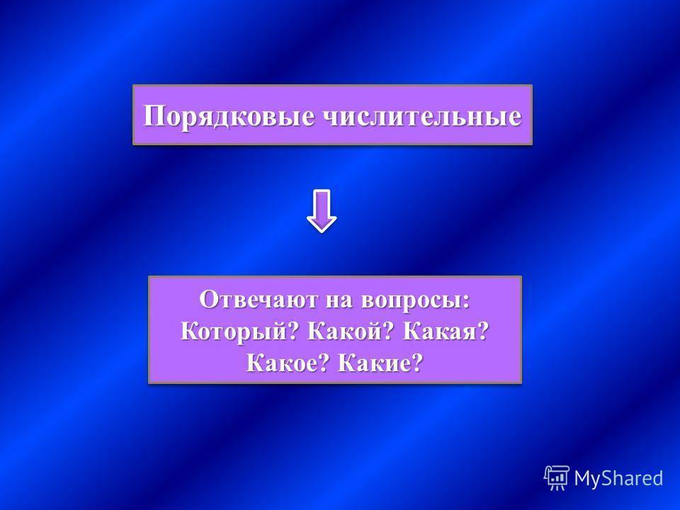 Порядковые числительные Отвечают на вопросы: Который? Какой? Какая? Какое? Какие? Отвечают на вопросы: Который? Какой? Какая? Какое? Какие?