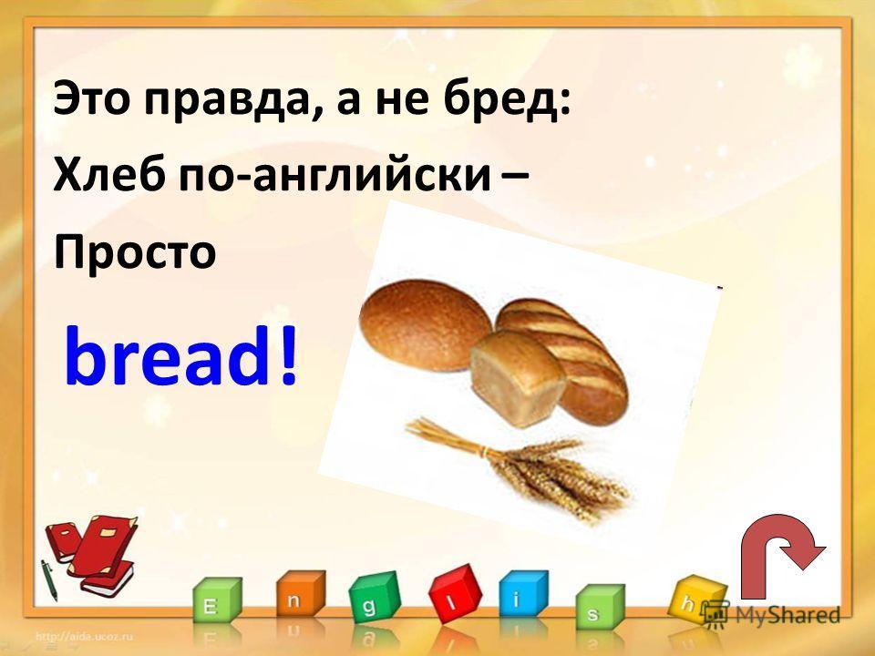 Это правда, а не бред: Хлеб по-английски – Просто bread!