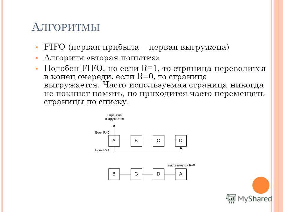 А ЛГОРИТМЫ FIFO (первая прибыла – первая выгружена) Алгоритм «вторая попытка» Подобен FIFO, но если R=1, то страница переводится в конец очереди, если R=0, то страница выгружается. Часто используемая страница никогда не покинет память, но приходится