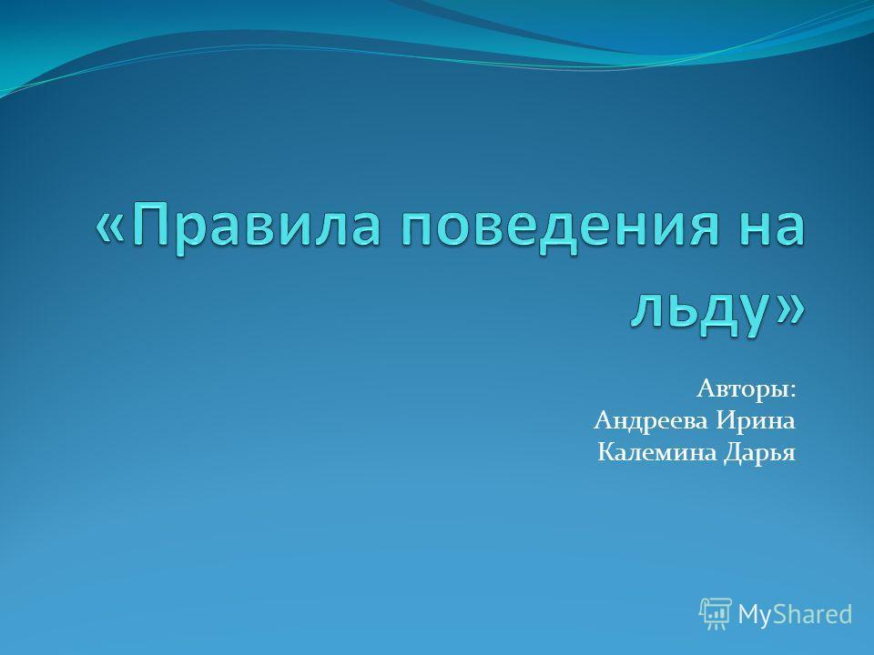 Авторы: Андреева Ирина Калемина Дарья