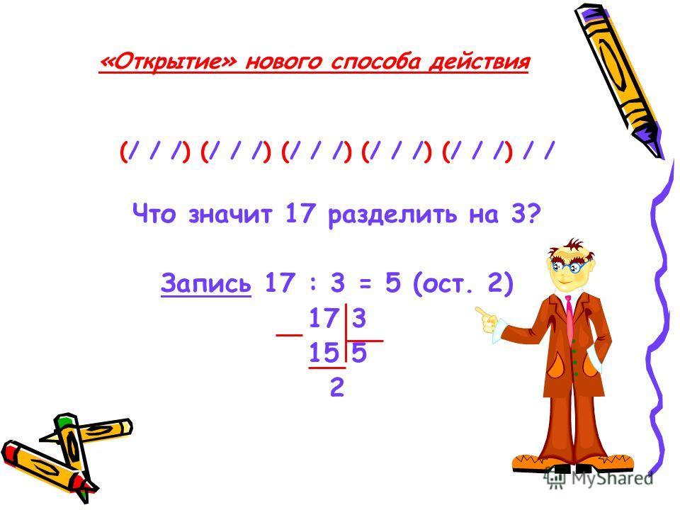 «Открытие» нового способа действия (/ / /) (/ / /) (/ / /) (/ / /) (/ / /) / / Что значит 17 разделить на 3? Запись 17 : 3 = 5 (ост. 2) 17 3 15 5 2