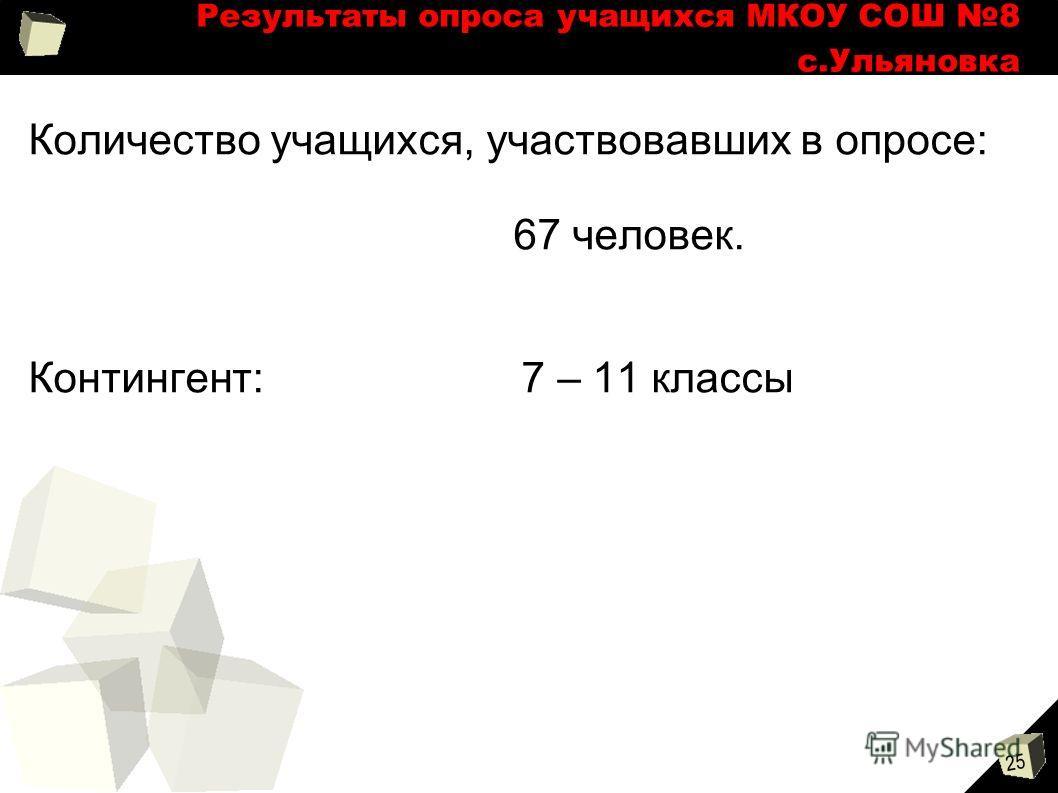 25 Результаты опроса учащихся МКОУ СОШ 8 с.Ульяновка Количество учащихся, участвовавших в опросе: 67 человек. Контингент: 7 – 11 классы
