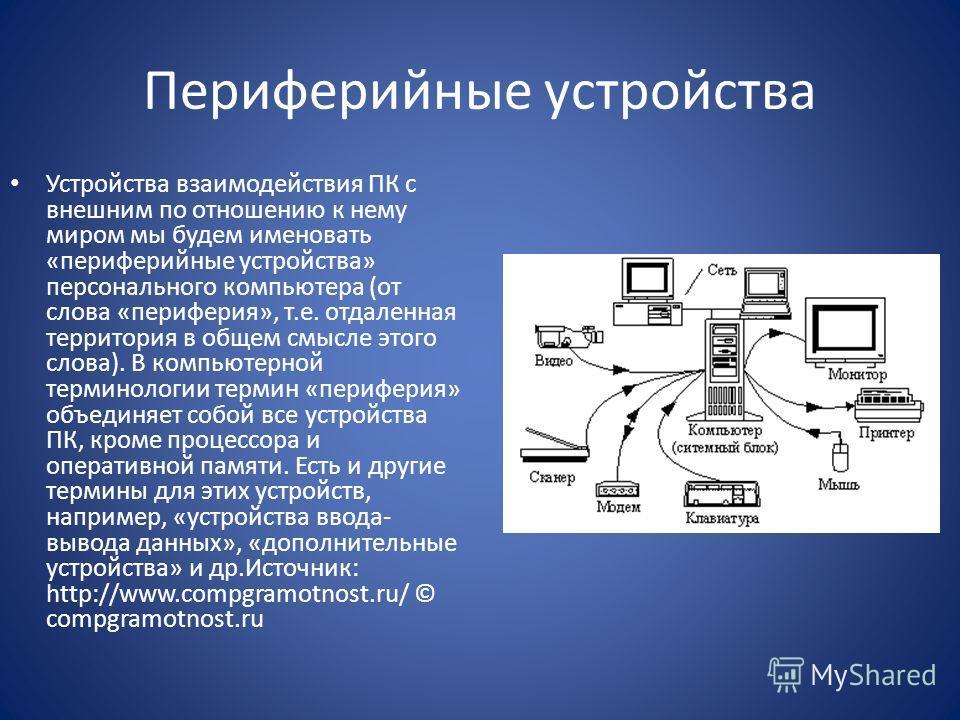Периферийные устройства Устройства взаимодействия ПК с внешним по отношению к нему миром мы будем именовать «периферийные устройства» персонального компьютера (от слова «периферия», т.е. отдаленная территория в общем смысле этого слова). В компьютерн