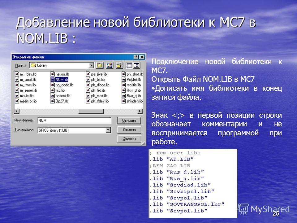 25 Добавление новой библиотеки к МС7 в NOM.LIB : Подключение новой библиотеки к МС7. Открыть Файл NOM.LIB в МС7 Дописать имя библиотеки в конец записи файла. Знак в первой позиции строки обозначает комментарии и не воспринимается программой при работ