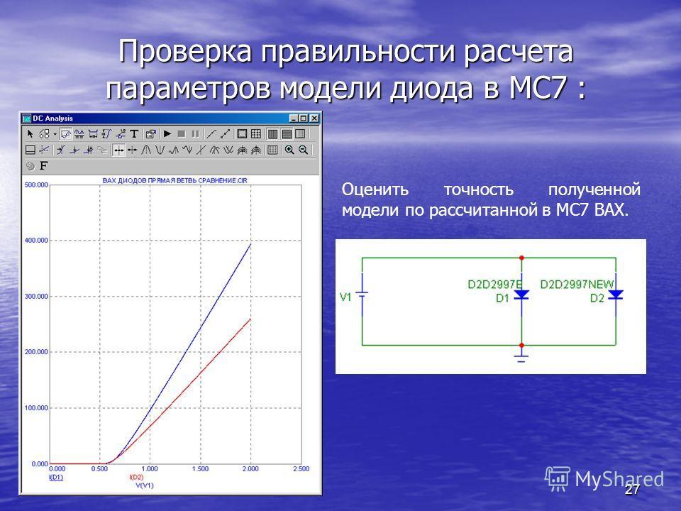 27 Проверка правильности расчета параметров модели диода в МС7 : Оценить точность полученной модели по рассчитанной в МС7 ВАХ.