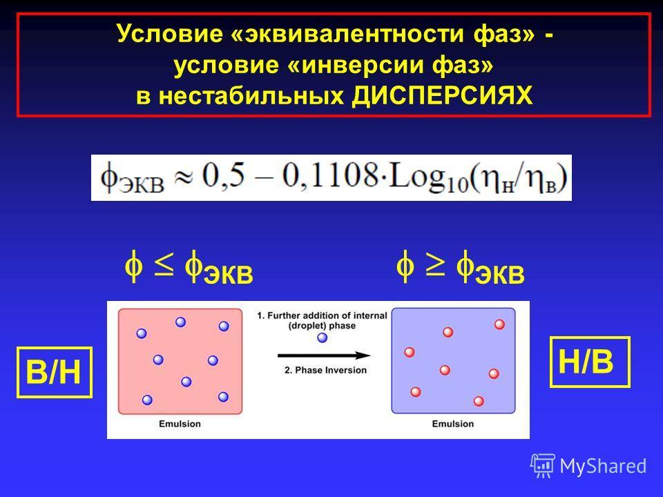 Условие «эквивалентности фаз» - условие «инверсии фаз» в нестабильных ДИСПЕРСИЯХ В/Н Н/В ЭКВ