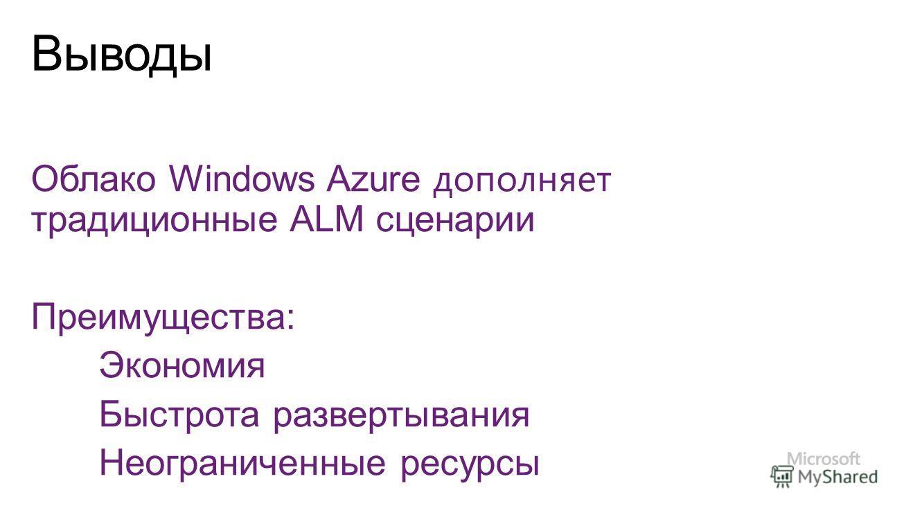 Облако Windows Azure дополняет традиционные ALM сценарии Преимущества: Экономия Быстрота развертывания Неограниченные ресурсы