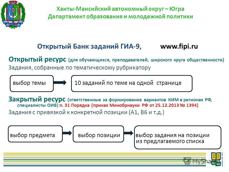 Открытый Банк заданий ГИА-9, www.fipi.ru Открытый ресурс (для обучающихся, преподавателей, широкого круга общественности) Задания, собранные по тематическому рубрикатору выбор темы 10 заданий по теме на одной странице Закрытый ресурс (ответственные з
