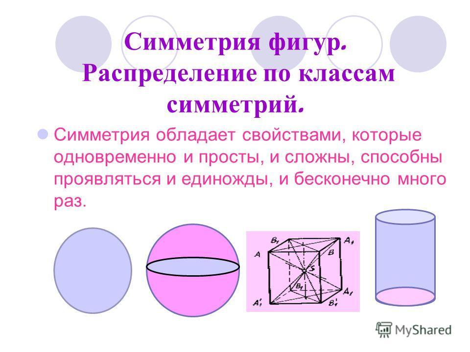 Симметрия фигур. Распределение по классам симметрий. Симметрия обладает свойствами, которые одновременно и просты, и сложны, способны проявляться и единожды, и бесконечно много раз.