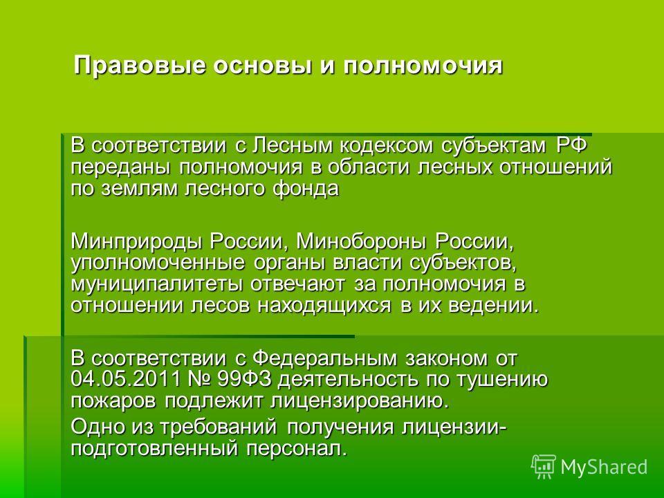 Правовые основы и полномочия В соответствии с Лесным кодексом субъектам РФ переданы полномочия в области лесных отношений по землям лесного фонда Минприроды России, Минобороны России, уполномоченные органы власти субъектов, муниципалитеты отвечают за