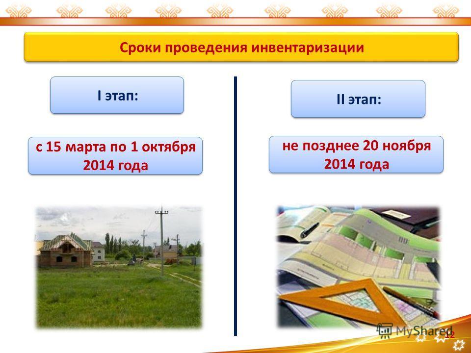 Сроки проведения инвентаризации 12 I этап: II этап: с 15 марта по 1 октября 2014 года не позднее 20 ноября 2014 года