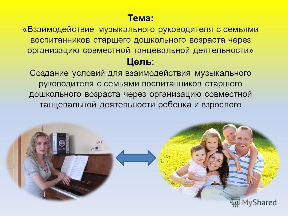 Тема: «Взаимодействие музыкального руководителя с семьями воспитанников старшего дошкольного возраста через организацию совместной танцевальной деятельности» Цель: Создание условий для взаимодействия музыкального руководителя с семьями воспитанников