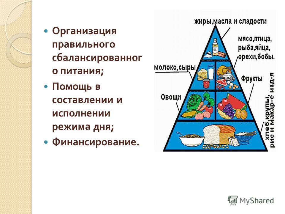 Организация правильного сбалансированног о питания ; Помощь в составлении и исполнении режима дня ; Финансирование.