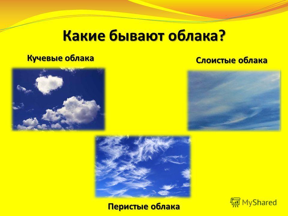 Какие бывают облака? Кучевые облака Слоистые облака Перистые облака