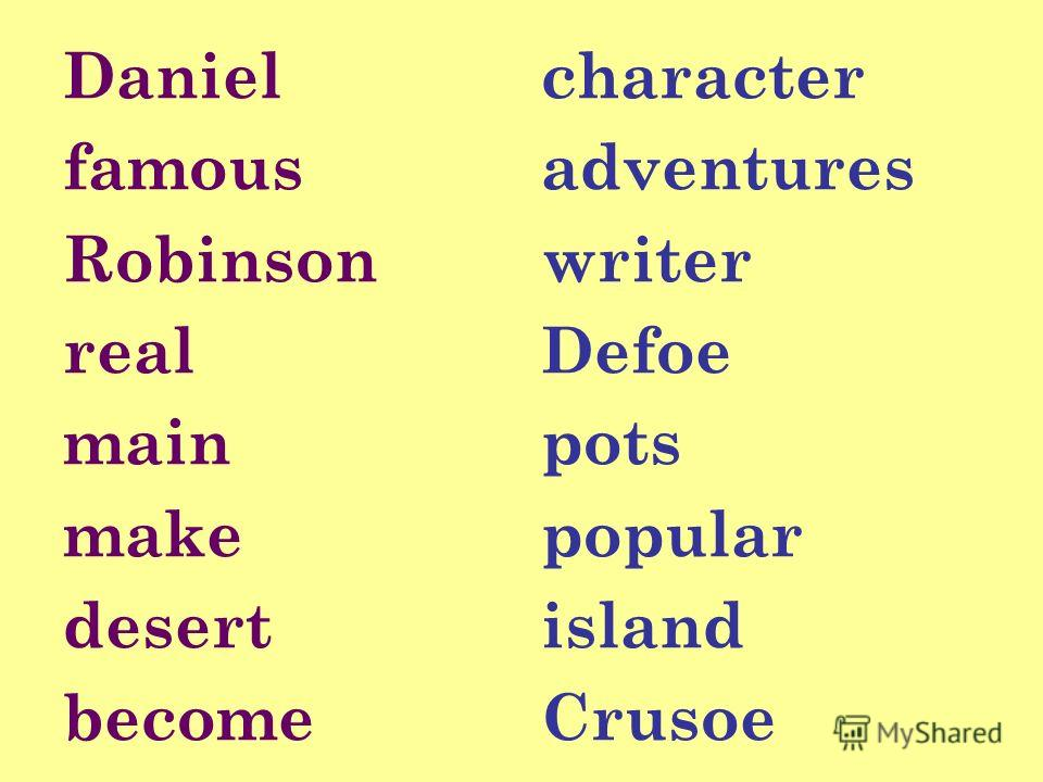 Daniel famous Robinson real main make desert become character adventures writer Defoe pots popular island Crusoe