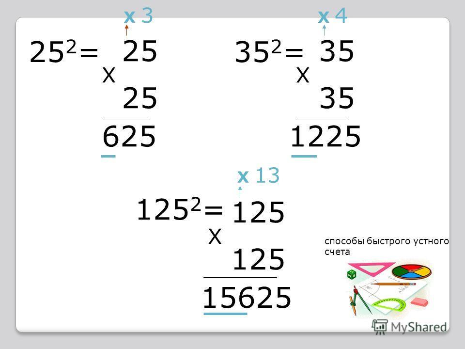 25 2 = 25 X 625 X 3 352=352= 35 X 1225 X 4 125 2 = 125 X 15625 X 13 способы быстрого устного счета