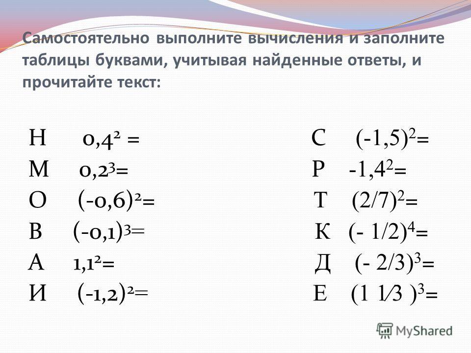 Самостоятельно выполните вычисления и заполните таблицы буквами, учитывая найденные ответы, и прочитайте текст: Н 0,4 2 = С (-1,5) 2 = М 0,2 3 = Р -1,4 2 = О (-0,6) 2 = Т (2/7) 2 = В (-0,1) 3 = К (- 1/2) 4 = А 1,1 2 = Д (- 2/3) 3 = И (-1,2) 2 = Е (1