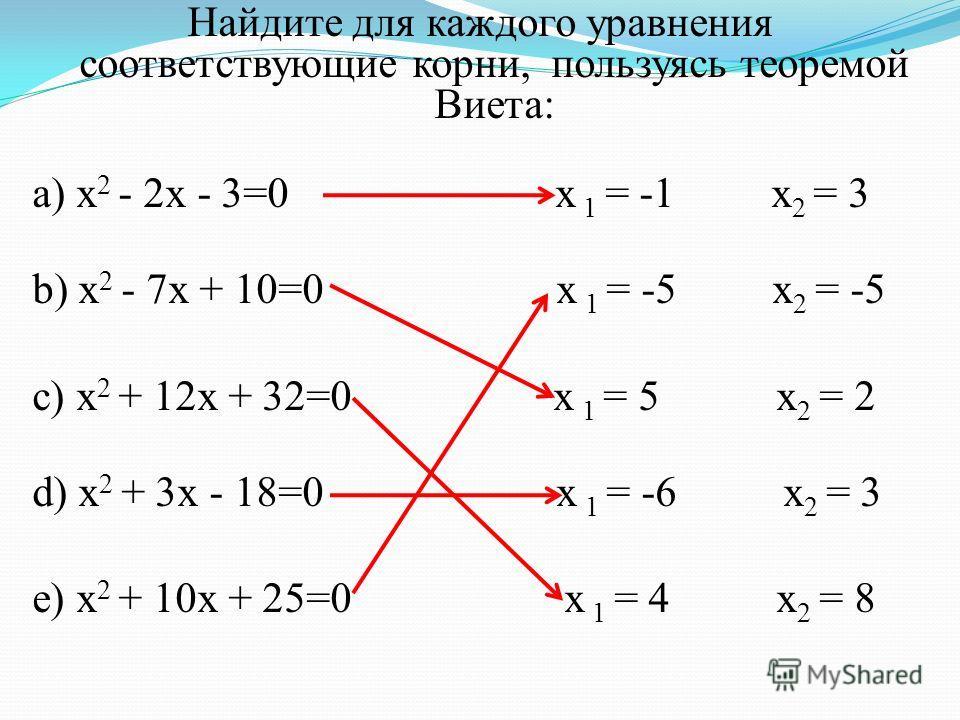 Найдите для каждого уравнения соответствующие корни, пользуясь теоремой Виета: а) x 2 - 2x - 3=0 x 1 = -1 x 2 = 3 b) x 2 - 7x + 10=0 x 1 = -5 x 2 = -5 c) x 2 + 12x + 32=0 x 1 = 5 x 2 = 2 d) x 2 + 3x - 18=0 x 1 = -6 x 2 = 3 e) x 2 + 10x + 25=0 x 1 = 4