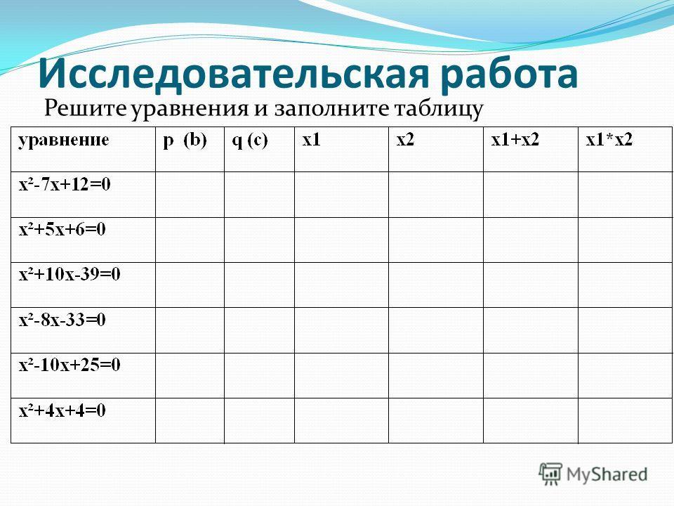 Исследовательская работа Решите уравнения и заполните таблицу