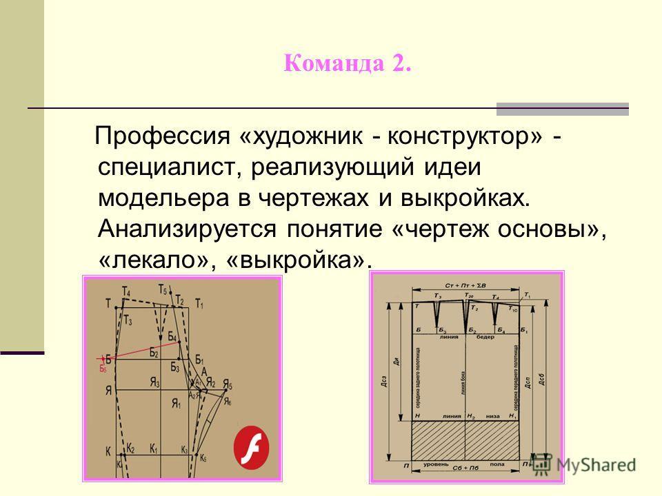 Команда 2. Профессия «художник - конструктор» - специалист, реализующий идеи модельера в чертежах и выкройках. Анализируется понятие «чертеж основы», «лекало», «выкройка».