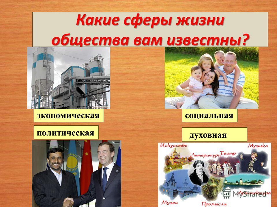 Какие сферы жизни общества вам известны? социальнаяэкономическая духовная политическая