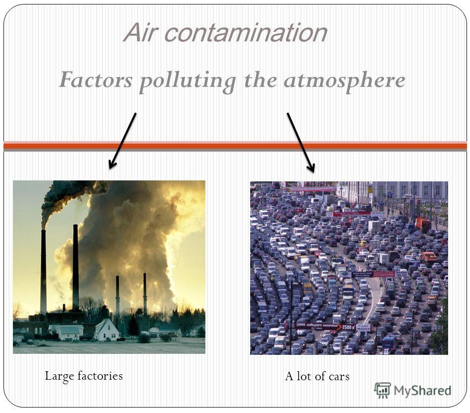 Air contamination Factors polluting the atmosphere A lot of cars Large factories