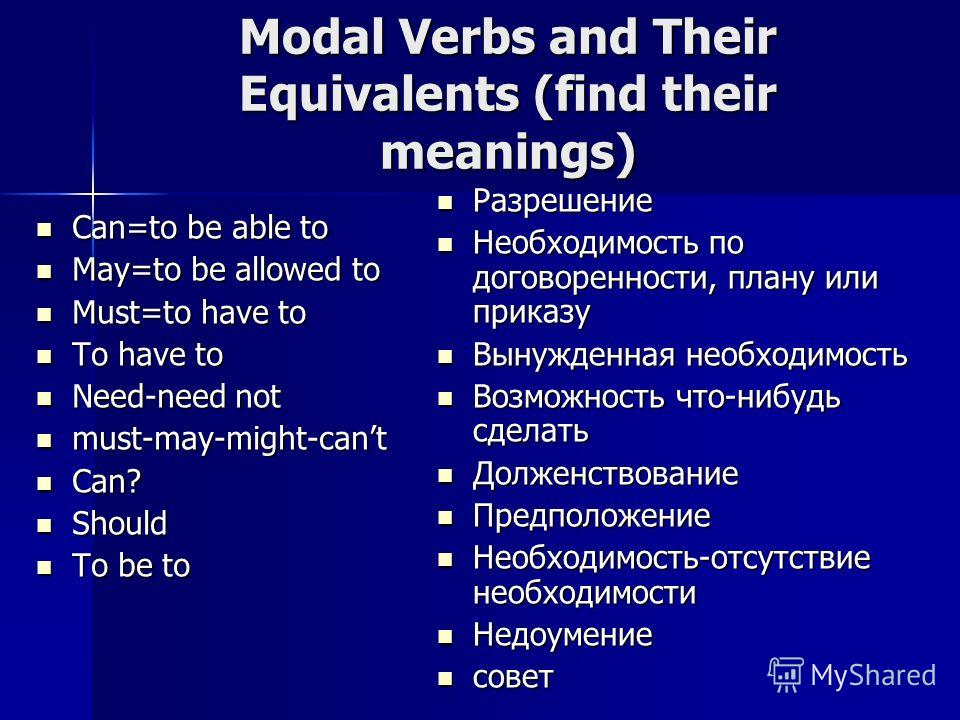 Modal Verbs and Their Equivalents (find their meanings) Can=to be able to Can=to be able to May=to be allowed to May=to be allowed to Must=to have to Must=to have to To have to To have to Need-need not Need-need not must-may-might-cant must-may-might