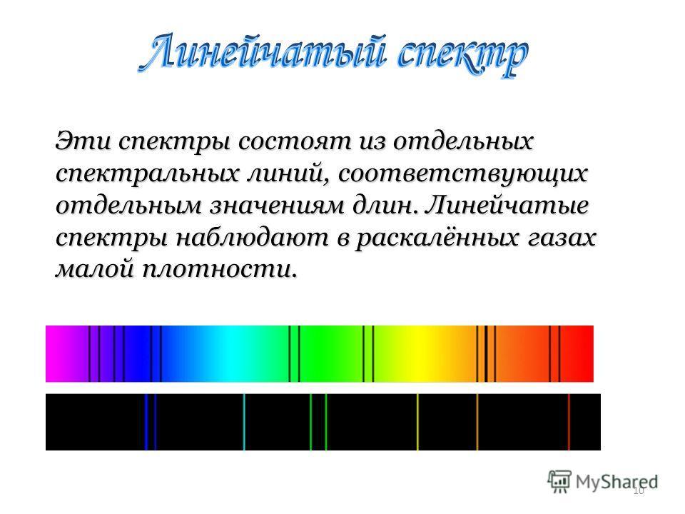 Эти спектры состоят из отдельных спектральных линий, соответствующих отдельным значениям длин. Линейчатые спектры наблюдают в раскалённых газах малой плотности. Эти спектры состоят из отдельных спектральных линий, соответствующих отдельным значениям