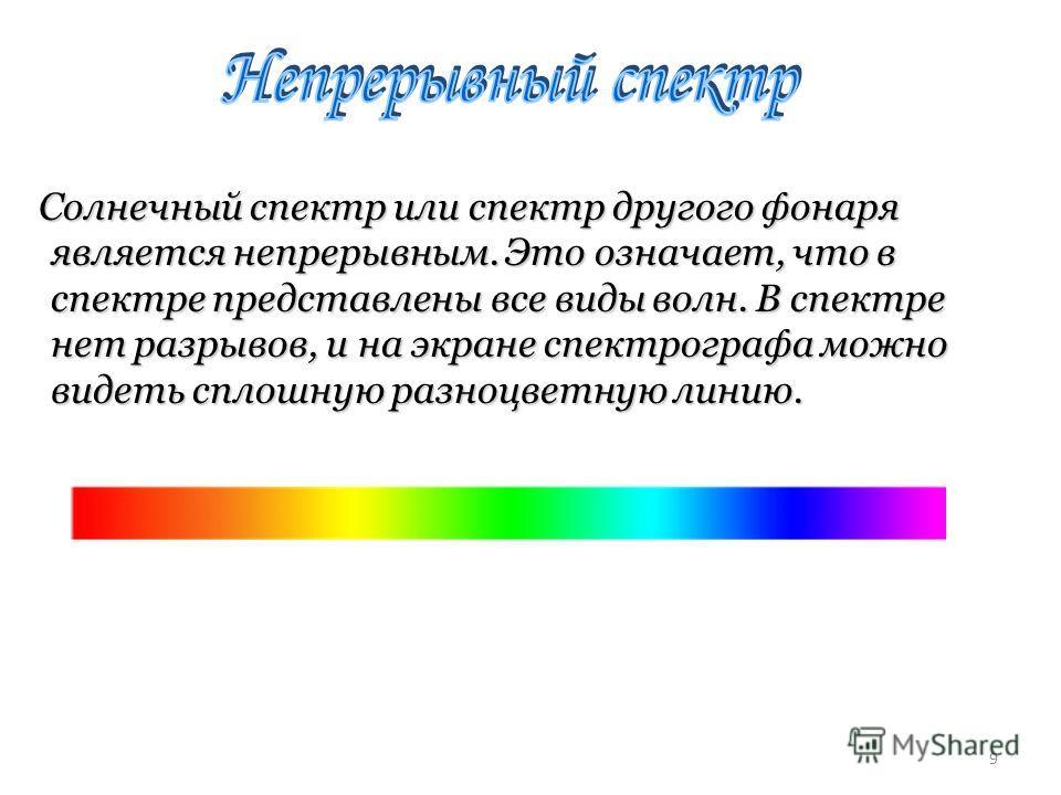 Солнечный спектр или спектр другого фонаря является непрерывным. Это означает, что в спектре представлены все виды волн. В спектре нет разрывов, и на экране спектрографа можно видеть сплошную разноцветную линию. Солнечный спектр или спектр другого фо